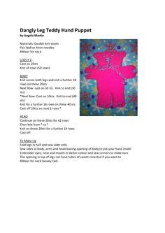 Dangly leg puppet - pattern & image Knitting For Charity, Knitting For Kids, Double Knitting, Loom Knitting, Beginner Knitting Patterns, Knitting For Beginners, Knit Patterns, Knitting Projects, Knitted Cat