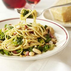 Get the recipe for Spaghetti with Pancetta and Escarole