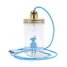 Lampe bocal à poser Playmobil-product Bleu Turquoise, Decoration, Crafts For Kids, Water Bottle, Mason Jar Lamp, Night Light, Brewery, Canning Jars, Child Room