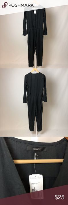 Forever 21 Black Drawstring Utility Jumpsuit NWT waist drawstring long-sleeve Forever 21 Pants Jumpsuits & Rompers