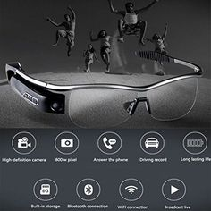Smart Glasses Bluetooth Android iOS HD 8Mp Camera Video Recording Call Answer  #SmartGlasses