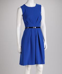 Take a look at this Sapphire Pleat Waist Sleeveless Dress by Sharagano on #zulily today!