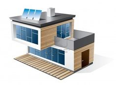 Isolated 3d icon of modern family house with wood facade Check my portfolio for more building types Stock Photo