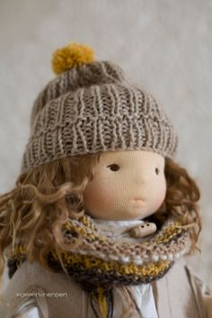 Autumn doll with cap pattern from Winterludes