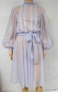Beautiful lavender colored sheer dress with ruffled collar and puff sleeves! The best way to ensure a correct fit is to compare our measurements to the measurements of a similar item that you know fits you well . | eBay!
