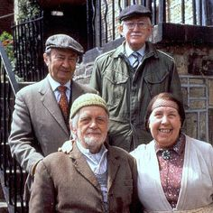 "Last of the Summer Wine (BBC). ""Clegg"", ""Foggy"", ""Compo"", and ""Nora"" ( Peter Sallis, Brian Wilde, Bill Owen and Kathy Staff )"