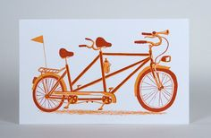 Tandem Bicycle Print Hand Printed Letterpress with Kraft by YeeHaw, $15.00