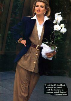 Ellen Tracy 1992 Retro Fashion, Vintage Fashion, Classy Fashion, Fall Outfits For Work, Autumn Outfits, 90s Models, Ellen Tracy, Parisian Style, Work Attire