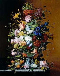 George Cochran Lambdin - Botte de fleurs dans la coupe en verre