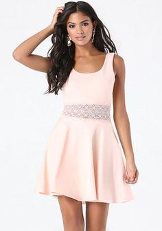 bebe Veronica Lace Inset Dress