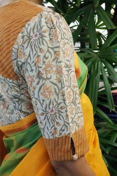 Best 11 Saree Mustard kanchi cotton saree with thread border Sale Online Shopping Blouse Designs High Neck, Cotton Saree Blouse Designs, Simple Blouse Designs, Stylish Blouse Design, Pattern Blouses For Sarees, Saree Blouse Patterns, Skirt Patterns, Coat Patterns, Clothes Patterns