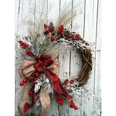 Winter Christmas Wreath for Door Red and White Holiday Wreath Country... ($125) ❤ liked on Polyvore featuring home, home decor, holiday decorations, winter door wreaths, country home accessories, country home decor and farmhouse home decor