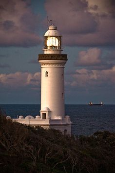 Norah Head Lighthouse with Tanker Central Coast NSW Australia