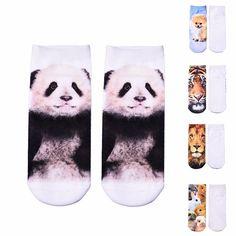 New Women Socks Print Low Socks 12 Pattern Fashion Kawaii Animal Dog Lion Panda Rabbit Funny Casual Socks Xmas Socks Panda, Satyr, Casual, Lion, Pattern Fashion, Hosiery, Pet Dogs, 3d Printing, Women Socks