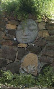 moon garden wall rock wall, moon, secret gardens, dream, the face, garden walls, stone walls, stones, garden rocks