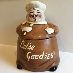 Vintage Hirsch Mfg Co Pottery Chef Baker Cookie Jar LA California Lot'sa Goodies