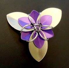 Large Flower Hair Clip - Silver/Purple