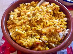 Recipe for a delicious prawn dish with rice, feta, saffron, tomatoes and dill inspired by the Real Greek restaurant Prawn Dishes, Rice Dishes, Tomato Rice, Greek Restaurants, Fried Rice, My Recipes, Feta, Tomatoes, Dinner