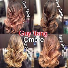 Guy tang balayage ombre . Rose gold . Natural dark . Cool blonde . Warm blonde