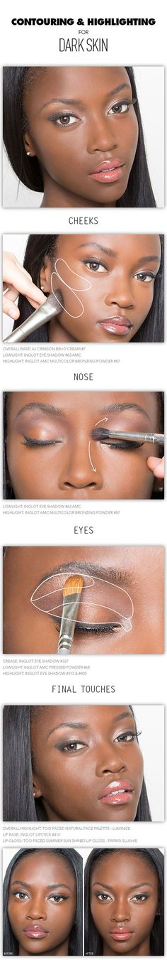 contouring and highlighting tutorials & tips for people with dark skin