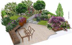Projekt ogrodu - mały ogród w zabudowie szeregowej