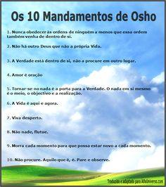 ANJOS E MINHA ALMA: OS 10 MANDAMENTOS DE OSHO
