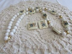 Vintage Glass and Porcelain Beaded Necklace and Earrings - FREE SHIPPING!!! by OwlMansionJewels on Etsy