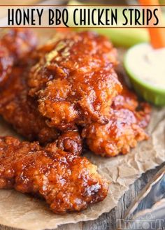 Sticky sweet Honey BBQ Chicken Strips are perfect for dinner or game day! Marinated in buttermilk and perfectly seasoned, these strips are hard to resist! Chicken Strip Recipes, Chicken Tender Recipes, Chicken Strips, Turkey Recipes, Rib Recipes, Chicken Breast Strips Recipes, Breaded Chicken Tenders, Honey Barbeque Chicken, Salads