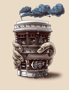 Illustration by michele marconi ilustration coffee art, coff Coffee Cafe, Coffee Humor, Coffee Quotes, Coffee Drinks, Coffee Shops, Coffee Menu, Coffee Is Life, I Love Coffee, My Coffee