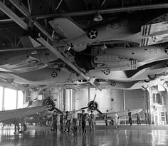 Hangar deck 1941 USS Lexington note planes hanging from ceiling to clear deck Mission4Today › ForumsPro › R & R Forums › Photo Galleries › WWII Aircraft Photo's › USA