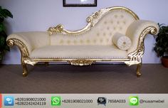 Gold Wedding Sofa Lounge Elhuda with Cream Fabric   Elhuda is a gold wedding sofa lounge that made from mahogany wood. It brings you the collaboration of a good quality wood shinny gold finish and beautiful cream fabric. Custom color combination is also available to suit your home's theme. The design of this wedding sofa lounge adopts Louis XV style that showed by its carving motif and curvy body. Elhuda has sturdy construction to ensure the lifetime of this pieces. In the upholstery points…