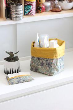 Les DIY Frou-Frou x Mymy Cracra : #2 l'étui à mouchoirs et la corbeille de salle de bain. Le blog couture Frou-Frou Mercerie Contemporaine (Paris - Marché Saint-Pierre)