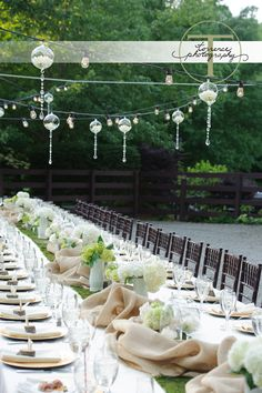 Spring and summer outdoor wedding table settings - green and white