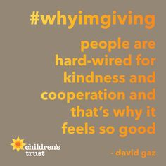 People are hard-wired to do good... & that's why it feels so good! Support MA families this #givingtuesday with a donation at childrenstrustma.org/givingtuesday & your gift will be doubled! Then help spread the word with our template at childrenstrustma.org/unselfie & hashtags #whyimgiving #givingtuesday #unselfie. Tag @trust4kids & we'll share your photos!