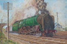 Hey, I found this really awesome Etsy listing at https://www.etsy.com/listing/205179084/vintage-framed-oil-painting-steam-train