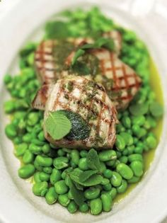 Chargrilled tuna with oregano oil and beautifully dressed peas and broad beans Read more at www.jamieoliver.c...
