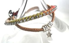 Friendship bracelet rhinestone chain leather trendy by Daniblu, $15.00