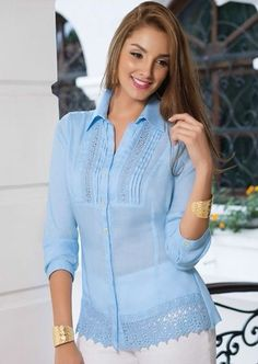 Shop V Notch Front Scallop Cap Sleeve Dolphin Hem Top online. SheIn offers V Notch Front Scallop Cap Sleeve Dolphin Hem Top & more to fit your fashionable needs. Beautiful Blouses, Beautiful Dresses, Blouse Styles, Blouse Designs, Casual Dresses, Fashion Dresses, Western Tops, Corsage, Dress Patterns