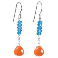 Ashanti Sterling Silver Fiery Orange Carnelian Briolette and Madagascan Neon Apatite Natural Gemstone Handmade Earrings  Price : $59.99 http://www.ashantijewels.com/Sterling-Carnelian-Briolette-Madagascan-Gemstone/dp/B00FZ5KV1S