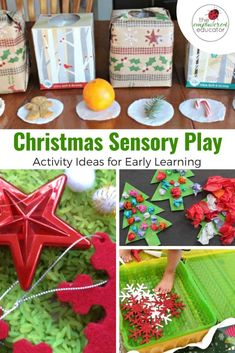Try these sensory Christmas play ideas and activities from the Empowered Educator for early learning educators, teachers, childcare and daycare providers. Includes sensory processing tips and sensory bins, bags, craft and small world play ideas! Christmas Activities For Kids, Holiday Crafts For Kids, Christmas Themes, Kids Christmas, Christmas Crafts, Celebrating Christmas, Christmas Parties, Kids Crafts, Sensory Bins