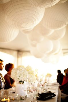 Love the effect of large white clustered lanterns.
