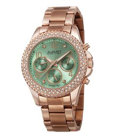 Loving this Rose Goldtone & Green Diamond Chronograph Watch on #zulily! #zulilyfinds