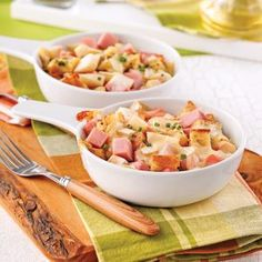 Casserole with ham, brie and pears - Dinners week - Recipes - Quick Recipes - Pratico Practice Quick Recipes, Quick Meals, Cooking Recipes, Brie, Casserole Recipes, Ham, Entrees, Potato Salad, Food And Drink