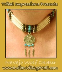 Navajo Made Turquoise And Silver Three Stone Wolf   With Three feather Drops On Turquoise Bone Choker -Review the Special Tribal Impressions Wolf Collection off of: http://www.indianvillagemall.com/jewelry/wolf.html