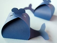 Whale Shaped Favor Box Set of 12. $18.00, via Etsy.