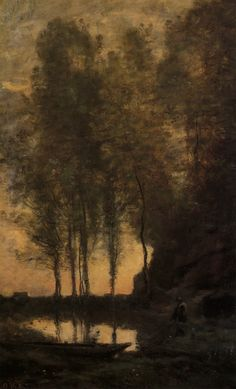 Jean-Baptiste-Camille Corot. (1796-1875), Oil. [ Tying Up His Boat ]