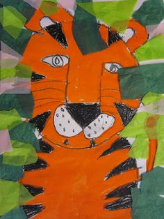 The Art Teacher's Closet: In the Art Room - Tigers 1st grade inspired by Henri Rousseau jungle mixed media drawing art lesson project