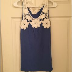 Blue and white tank top Great condition. Purchased from a boutique. Twenty One Tops Tank Tops