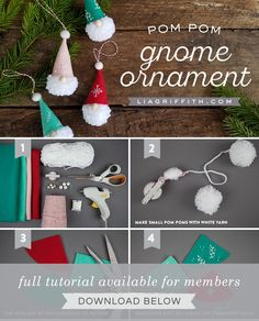 pom-pom gnome ornaments hanging on white banchesHow to Make Pom-Pom Gnome Ornaments - Lia Griffith, the tomte of Sweden and the nisse of Norway. Scroll down for how to make these simple Christmas crafts, or browse our other pom pom craft Christmas Pom Pom, Christmas Gnome, Christmas Crafts For Kids, Homemade Christmas, Craft Stick Crafts, Christmas Projects, Holiday Crafts, Diy And Crafts, Christmas Ideas