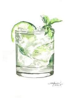 Watercolour Mojito Print